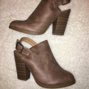 Brown vegan leather booties